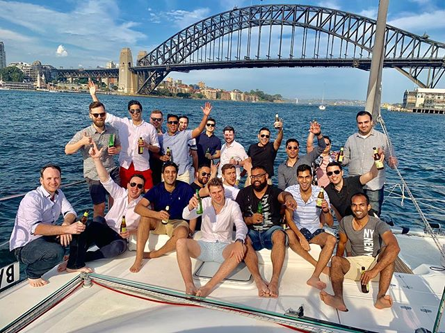 Rahim and his mates making the best of an awesome Saturday arvo on Sydney Harbour.