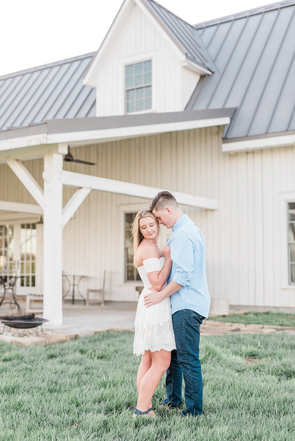 Spring Sunset Engagement Session with High School Sweethearts and Golden Retriever Puppy at Blue Bell Farm Fayette Missouri by Kelsi Kliethermes Photography_0012.jpg