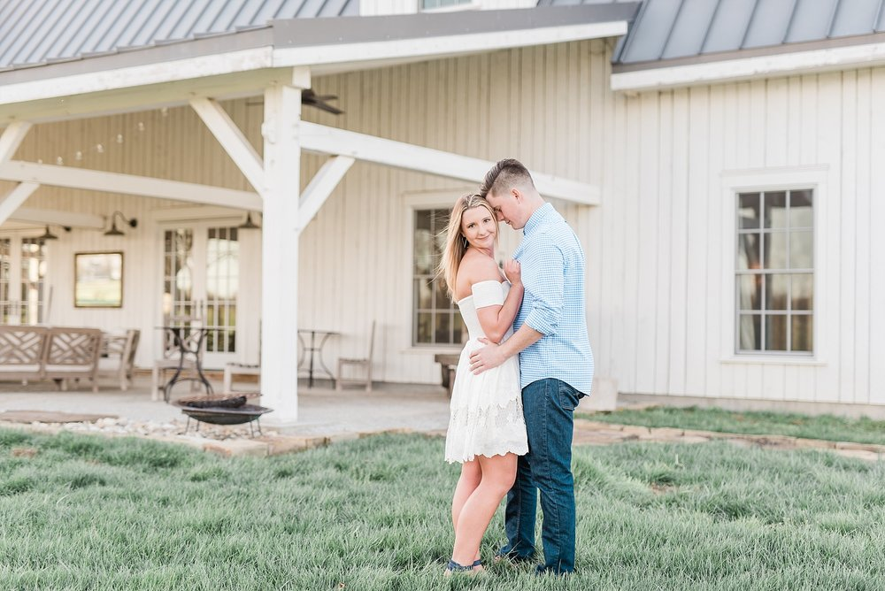 Spring Sunset Engagement Session with High School Sweethearts and Golden Retriever Puppy at Blue Bell Farm Fayette Missouri by Kelsi Kliethermes Photography_0013.jpg