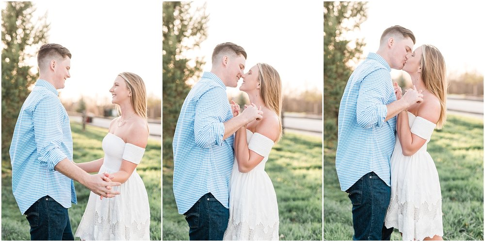 Spring Sunset Engagement Session with High School Sweethearts and Golden Retriever Puppy at Blue Bell Farm Fayette Missouri by Kelsi Kliethermes Photography_0019.jpg