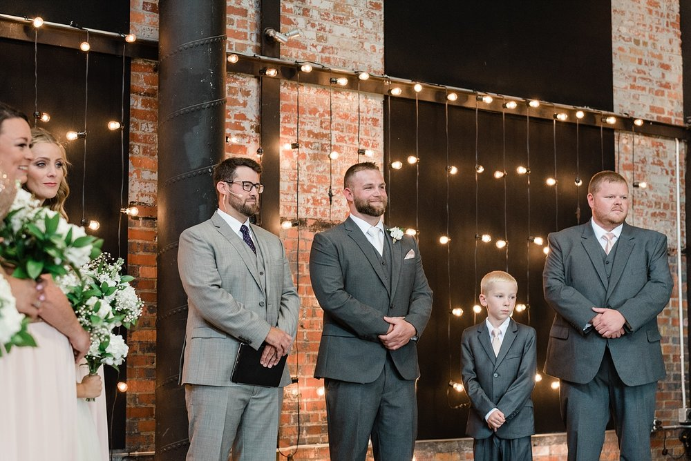 Rose Gold, White, and Greenery High Class Summer Wedding at The Millbottom in Downtown Jefferson City by Kelsi Kliethermes Photography_0037.jpg
