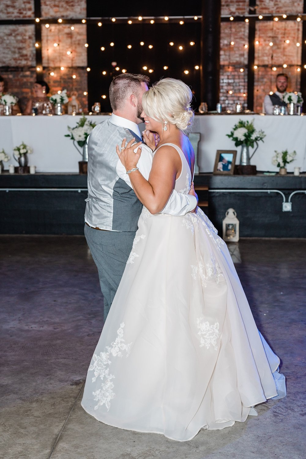 Rose Gold, White, and Greenery High Class Summer Wedding at The Millbottom in Downtown Jefferson City by Kelsi Kliethermes Photography_0049.jpg