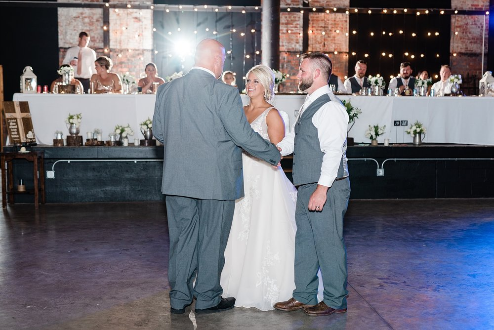 Rose Gold, White, and Greenery High Class Summer Wedding at The Millbottom in Downtown Jefferson City by Kelsi Kliethermes Photography_0052.jpg