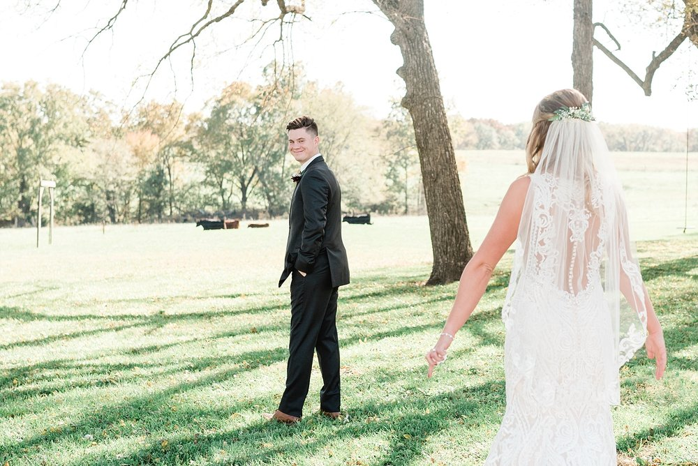 Golden Autumn Outdoor Wedding with Ivory, Bergundy, and Blush Color Palette at Blue Bell Farms  by Kelsi Kliethermes Photography_0009.jpg