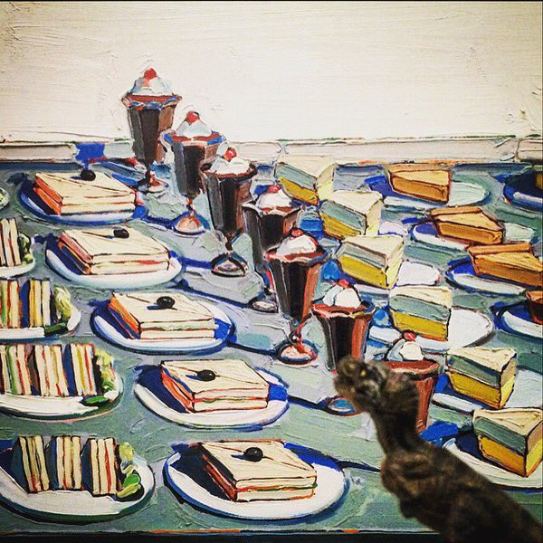 Wayne Thiebaud, Salads, Sandwiches, and Desserts. Oil on canvas. (1962)