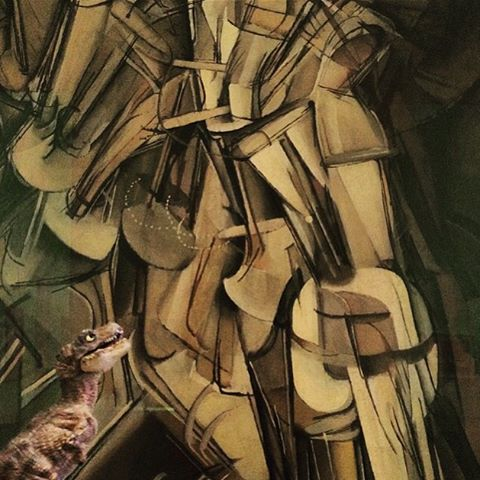Marcel Duchamp,  Nude Descending a Staircase (No. 2) . Oil on canvas. (1912)
