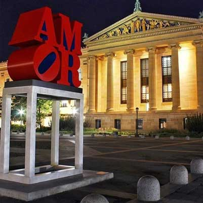 Robert Indiana,  AMOR . (1998) © 2015 Morgan Art Foundation. Artists Rights Society (ARS), New York. Image courtesy of Philadelphia Museum of Art.