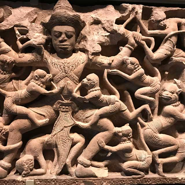 Scene from the epic Ramayana: Kumbhakarna battles the monkeys, approx. 1075-1125. Cambodia or northeastern Thailand.