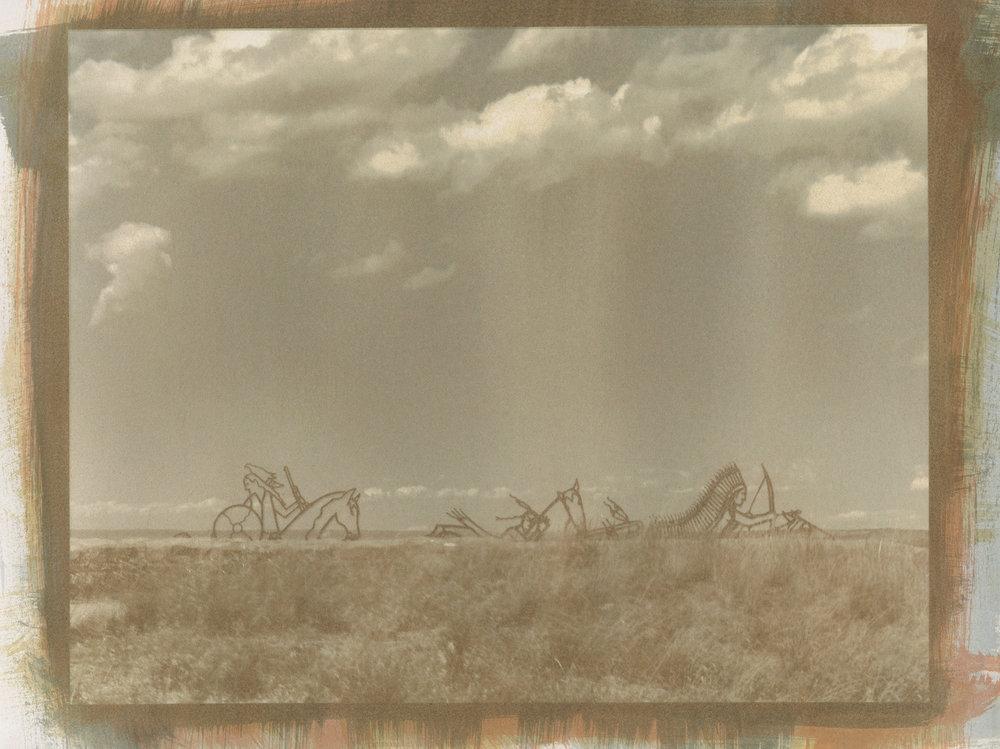 "127 Years . Little Bighorn Battlefield, Crow Reservation, Montana. 11""×14"""
