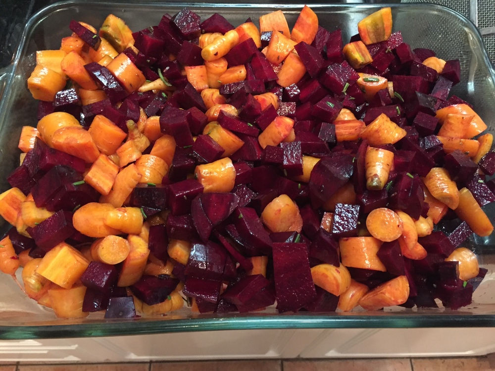 "Roasted beets and carrots prepared at home by parent volunteers for our ""Flavor Day Friday"" School Wide Tasting Event"
