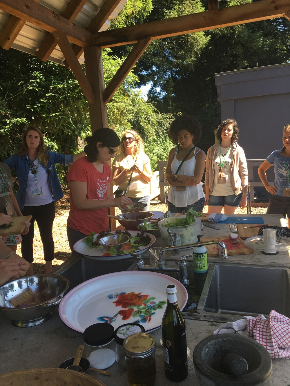 "Cooking in the outdoor kitchen is its own special ritual here at the Edible Schoolyard.  Food is a ""hook"" that works for just about every kid (and adult!)"