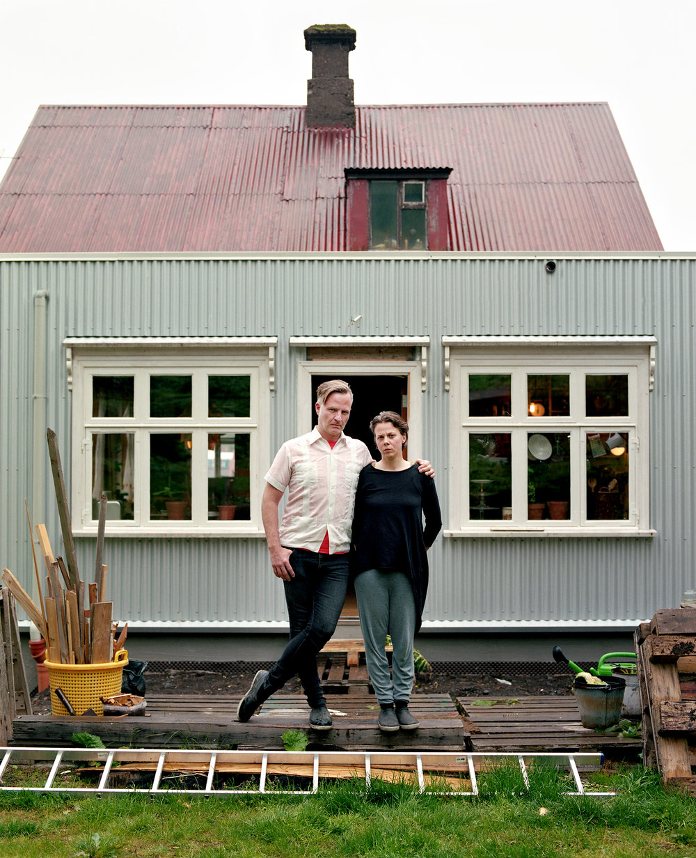 Helgi and Þórunn in their backyard. They rent out the downstairs portion of their house through AirBNB as they creatively renovate. Helgi was looking forward to Sunday as their last guest would be checking out for the end of their hosting season. He planned to play his records without worrying about disturbing their company.