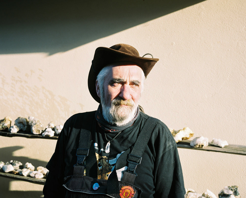 Jón and a small portion of his rock collection
