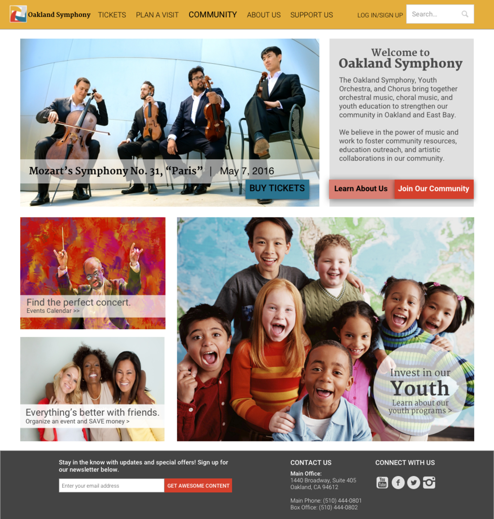 This is the Homepage (Desktop version) of the Oakland Symphony with visual design elements applied.