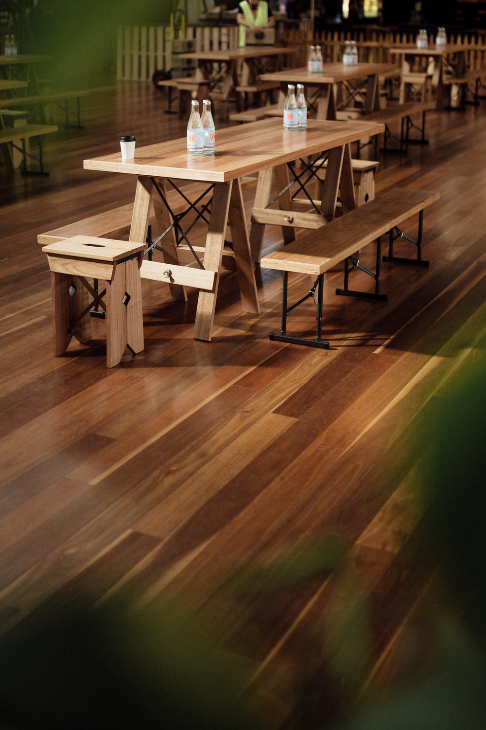 Trestle Tables - Tassie Oak with steel crossbrace trastle legs