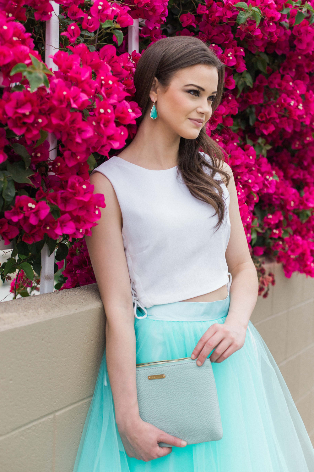 Seen on Model: Carla Earrings in Amazonite & All in One Bag Azure Pebble Grain