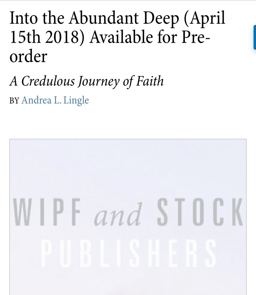 Preorder Form for Andrea Lingle's book,  Into the Abundant Deep