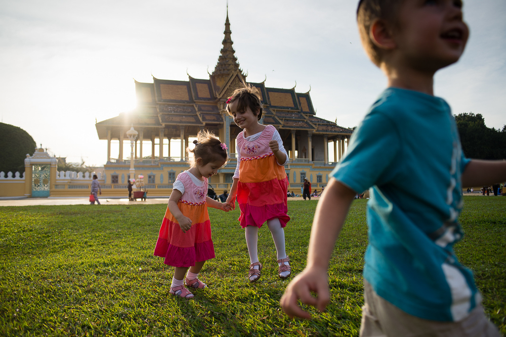 Henya, Mushka, and Shmulik at the Royal Palace in Phnom Penh.
