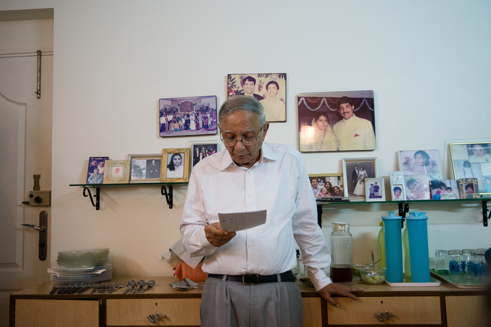 Norman Elijah, a member of the reform congregation in Mumbai, reads a letter from the head of the Union for Reform Judaism, congratulating the community and wishing them a happy new year.