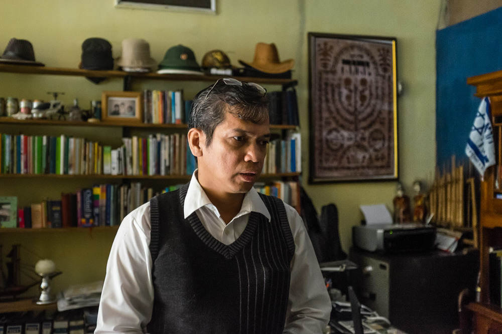 Benny in his home office, where he studies and also records videos to send out to other community members on other islands. Benny and his family live in Lampung, on Sumatra, where they are some of the only Jews. He is in frequent contact with the community in the rest of Indonesia through Facebook and email.