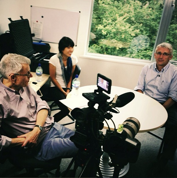 Filming with professors at the University of East Anglia