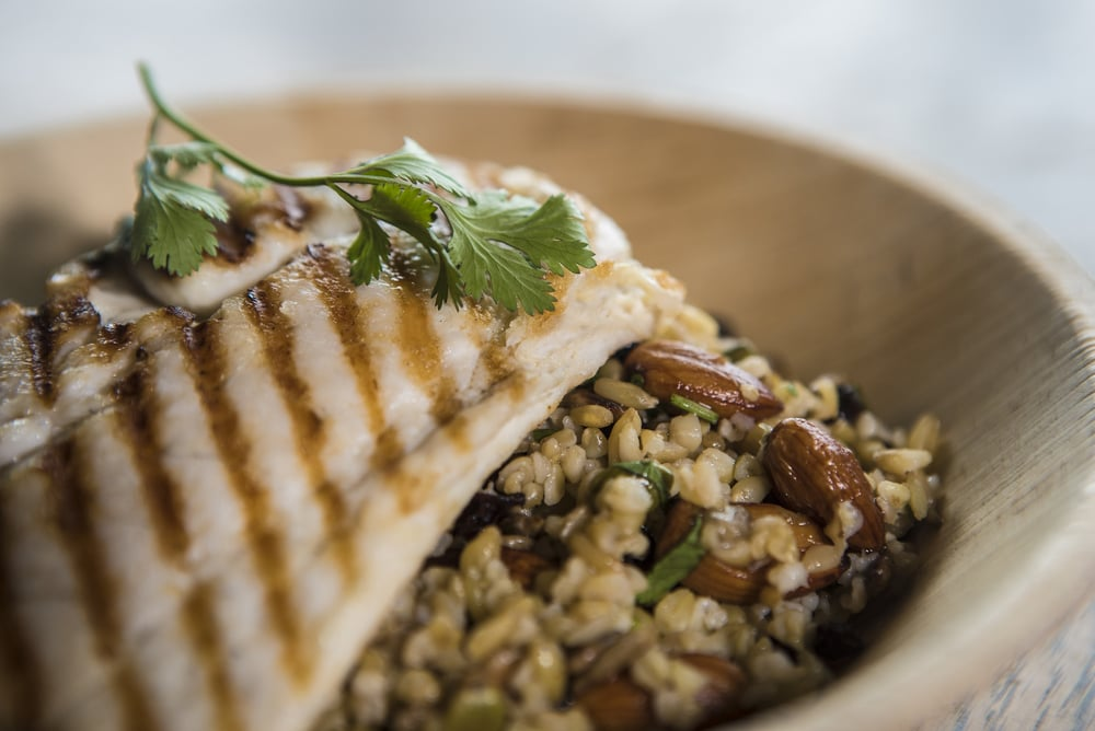 Char-grilled Snapper with Freekah and Almond Salad