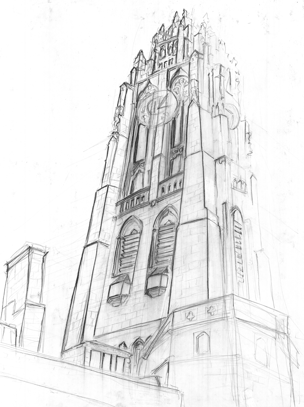 Harkness Tower Line Drawing 3
