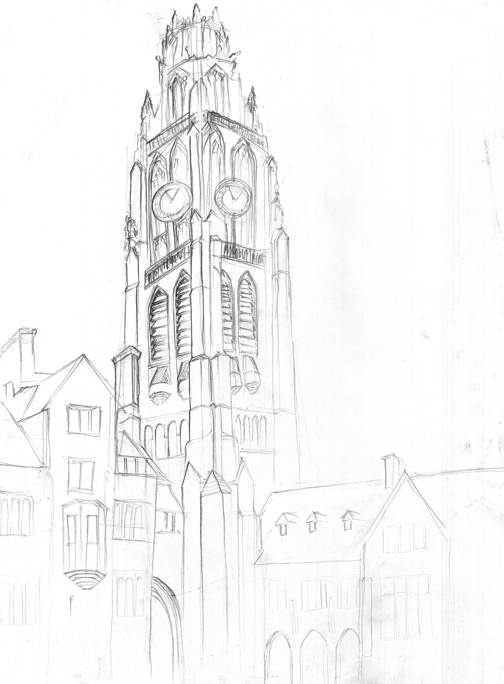 Harkness Tower Line Drawing 1