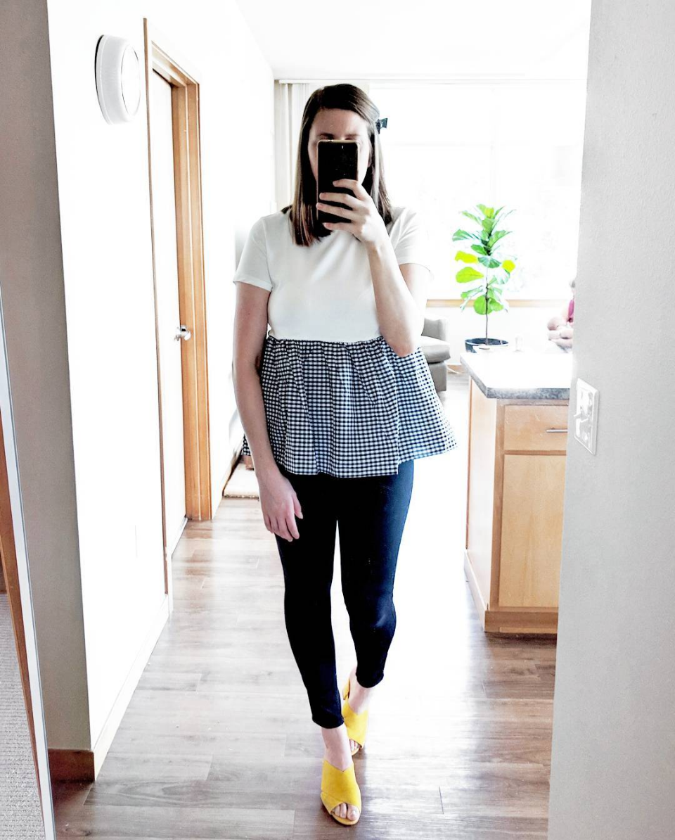 gingham tee shirt and yellow mules