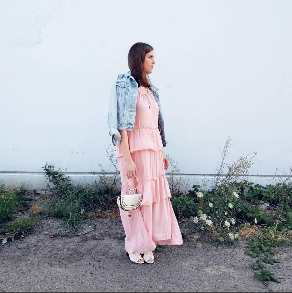 pink tiered maxi dress