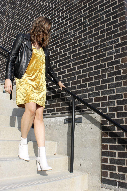 Velvet Yellow Dress