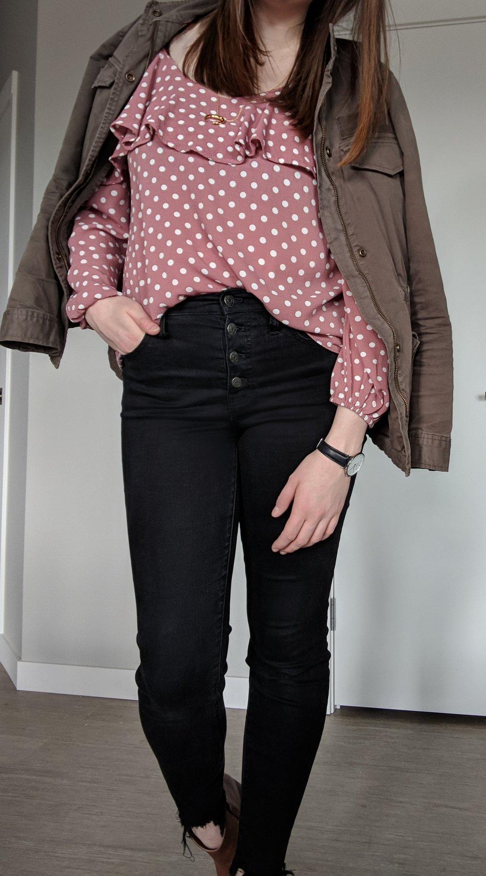 pink polka dot shirt