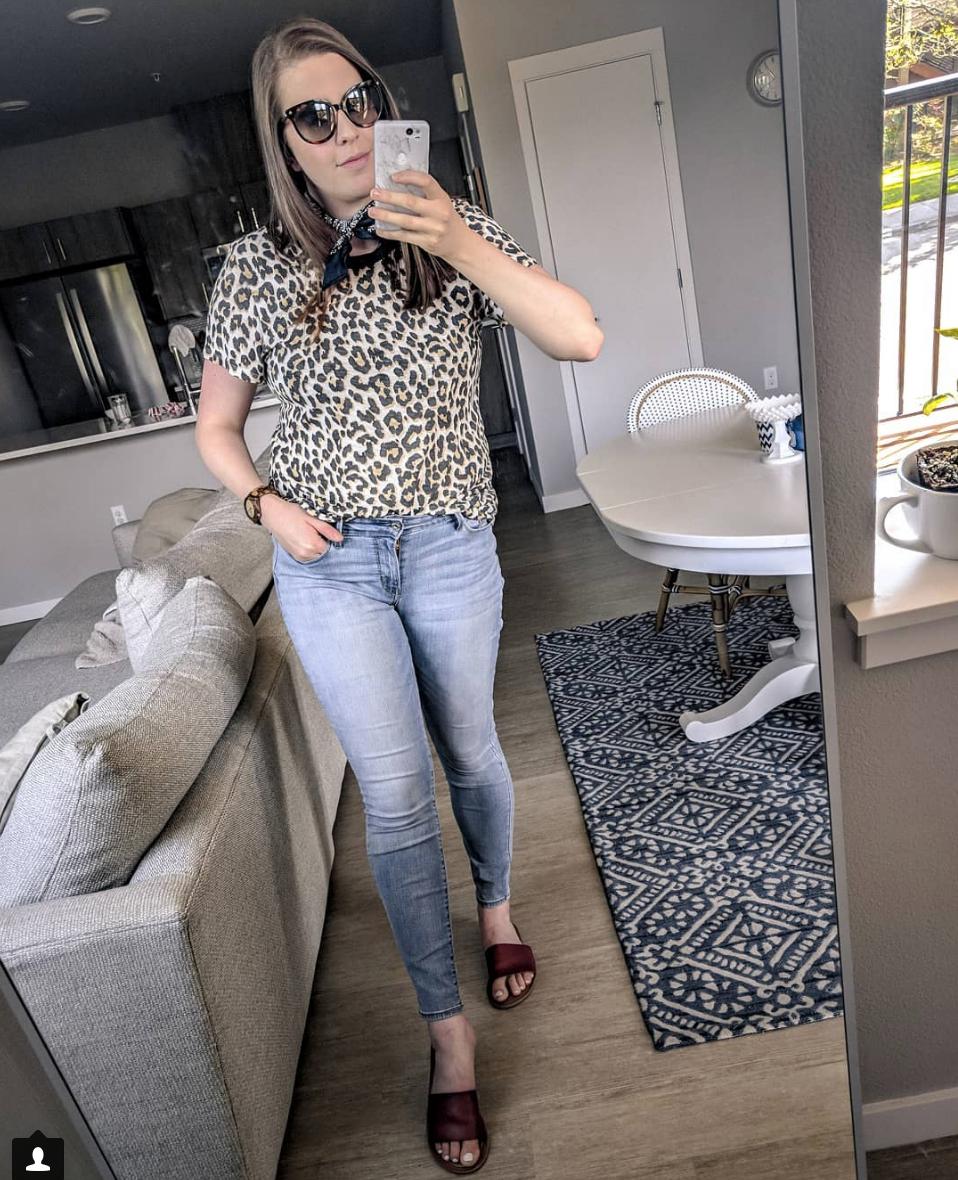 Leopard top lightwash denim stylebyjulianne outfit instagram roundup
