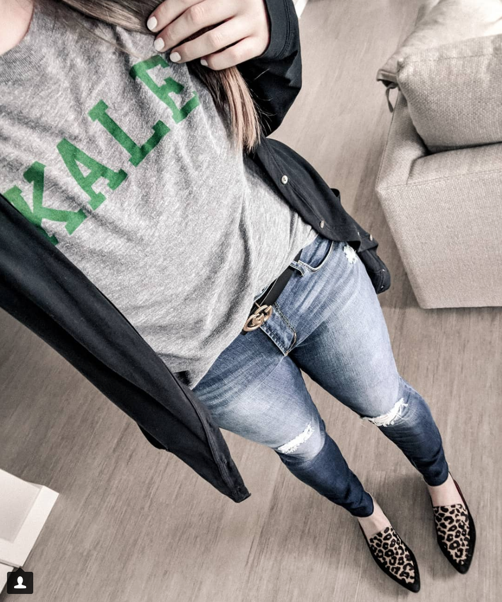 Cool and Casual - Kale Shirt: HERE, plus size version HERE, Jeans: NORDSTROM, Shoes: DSW on major sale right now!
