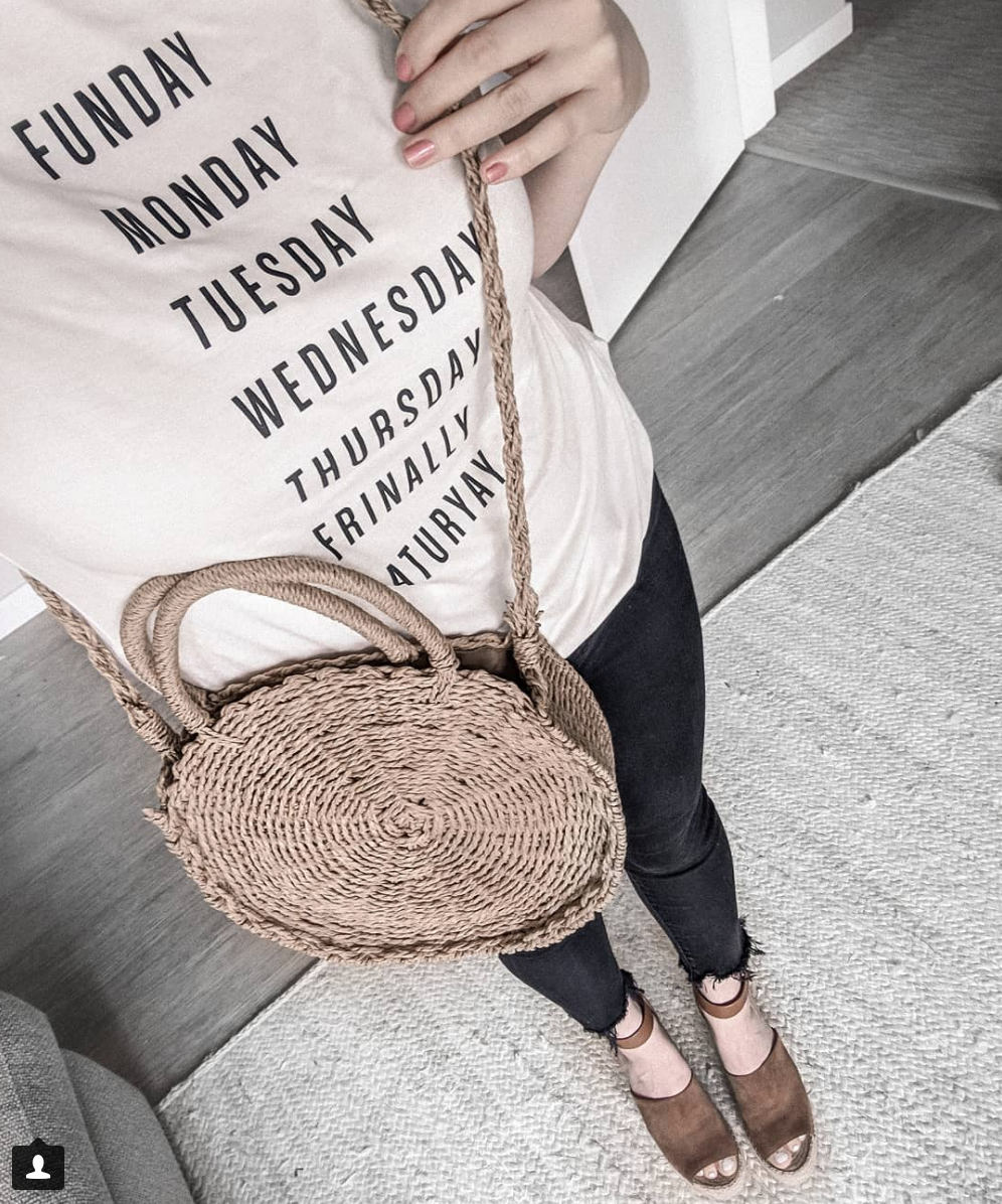 Woven round bag instagram fashion outfit roundup stylebyjulianne