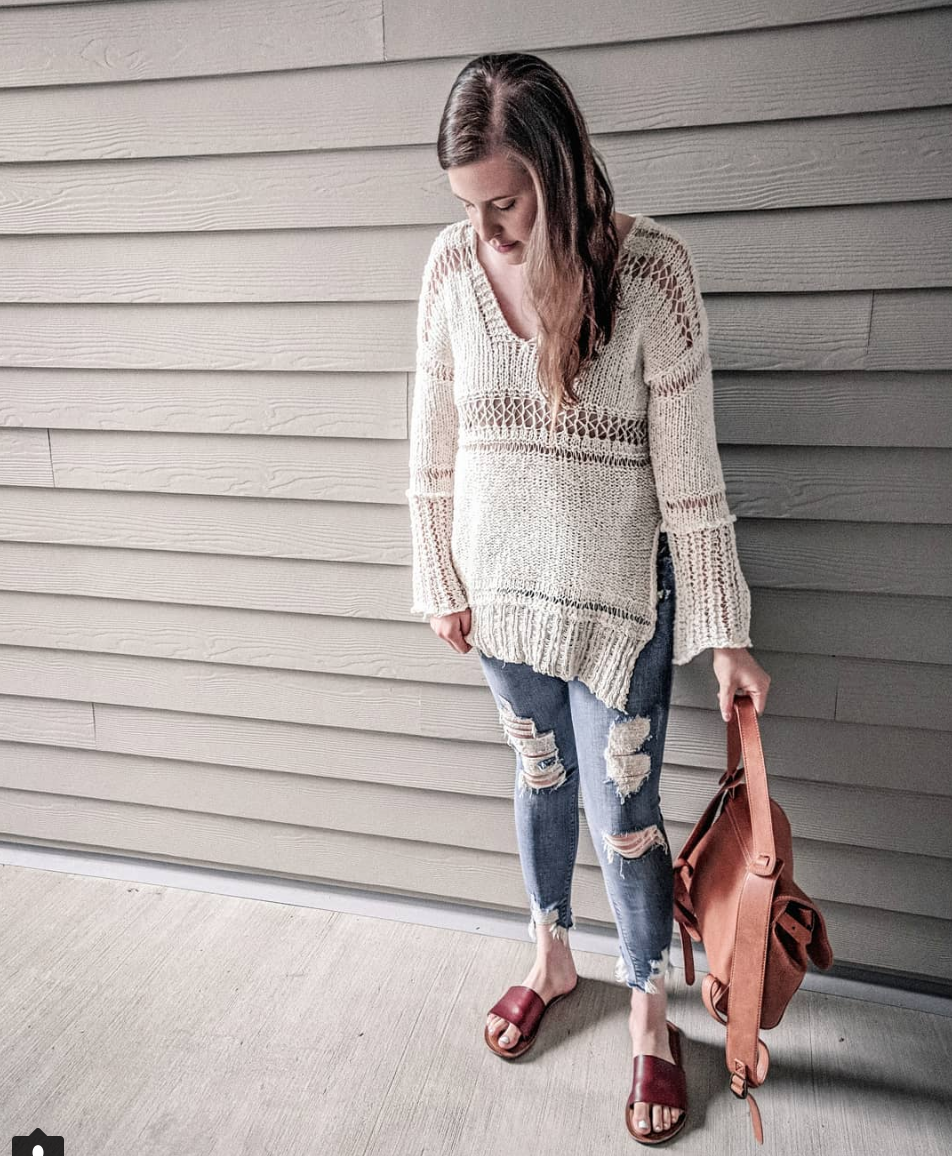 Free people sweater ripped jeans outfit instagram roundup stylebyjulianne