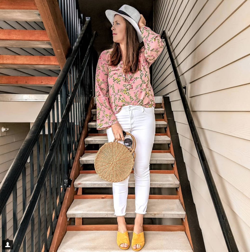 white jeans floral top yellow shoes outfit instagram roundup stylebyjulianne