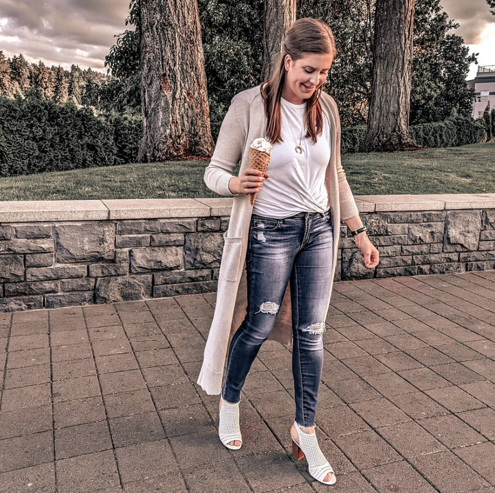Ice Cream Date - Shoes are from last summer, I couldn't find anything similar enough to link, sorry! Top: NORDSTROM // Duster: OLD NAVY // Jeans: ARTICLES OF SOCIETY // Necklace: GORJANA