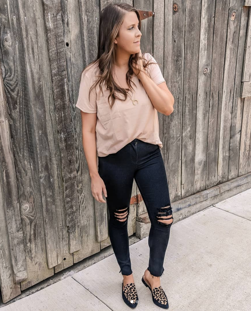 Leopard Shoes - I wear these shoes year-round. I feel that leopard print goes with everything. I love how these ripped jeans edge up this soft pink tee. I'm all about a little juxtaposition in an outfit! I own this T-shirt in all three colors and it is on sale and under $20!T-SHIRT // NECKLACE // JEANS // SHOES (similar) //