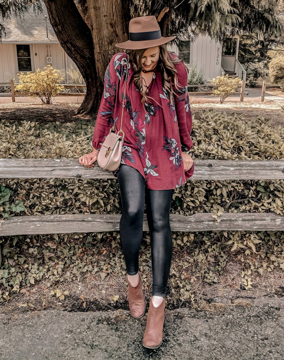 Fall Florals - I pretty much haven't taken these leggings off since buying them! I also got the moto ones from the same brand and I already see myself wearing them all fall/winter. They're comfortable, they suck everything in and are SO flattering! They are a bit pricey, but they are very high quality and worth every penny!HAT // TOP (similar) // LEGGINGS // MOTO LEGGINGS // BOOTIES