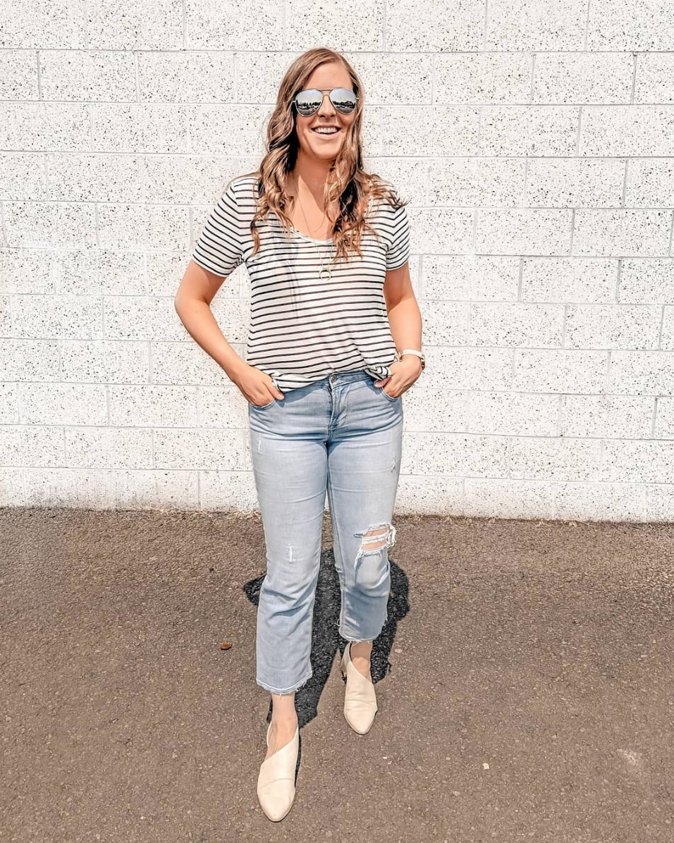 Striped - Best. Tee. Ever. Another one you've seen on repeat, I own it in 4 colors, and its only $17! Also, these jeans are amazing and currently on sale! These shoes are a crowd fav, I see you all loving them! They make an amazing statement for any fall look without going over the top trendy!T-SHIRT // NECKLACE // JEANS // SHOES (similar HERE) //