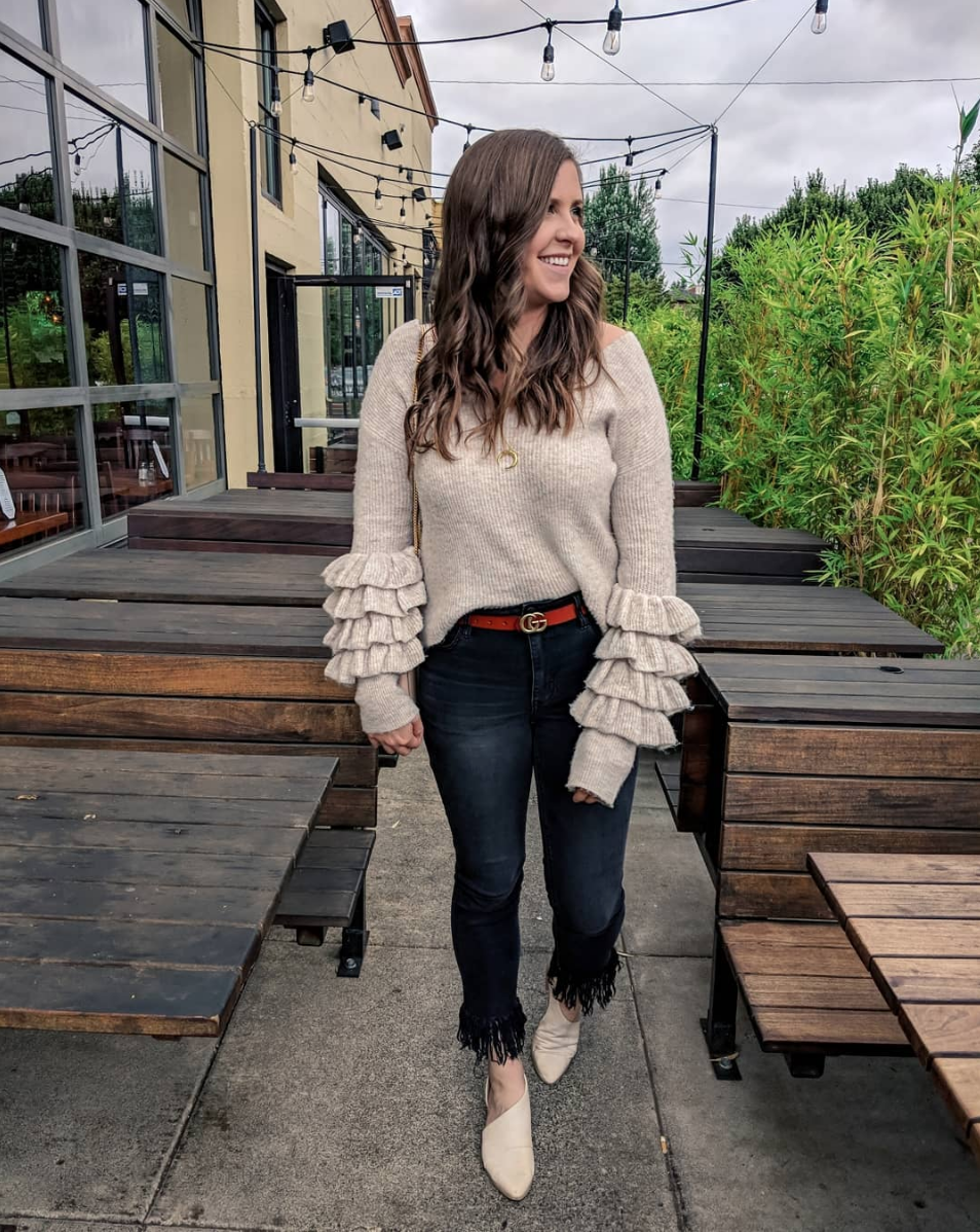 Ruffle Sleeves - I hate posting old items, but I found a similar sweater to this one and it's only $20! Also this belt is under $20 and looks like the real- deal. Jeans run TTS and are super high waisted and stretchy. I'm wearing them in