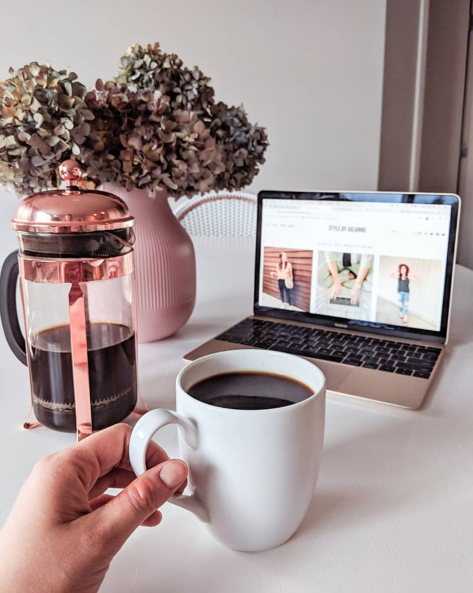 "Rose Gold - This was my ""real-talk"" post about my creative rut. Read the full post HERE .FRENCH PRESS // COFFEE MUG //"