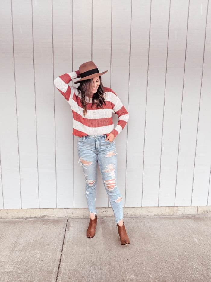 AE Striped Sweater and Ripped Jeans for Fall