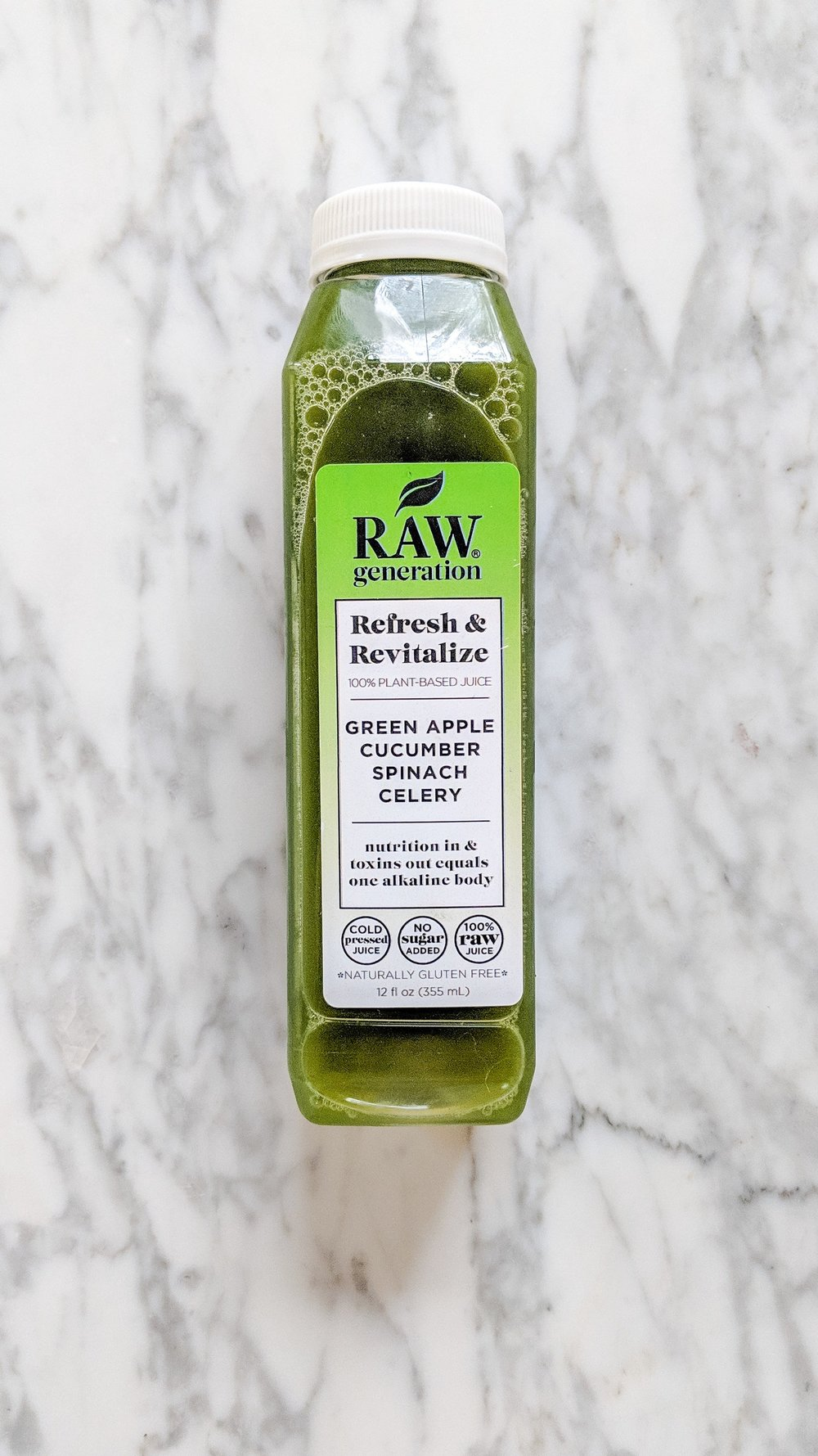 """""""Refresh & Revitalize"""" - INGREDIENTS: green apple, cucumber, spinach, celery, and filtered water.WHAT IT DOES: This juice is for putting """"nutrition in & toxins out."""" Most days I drank this one around lunch time!"""
