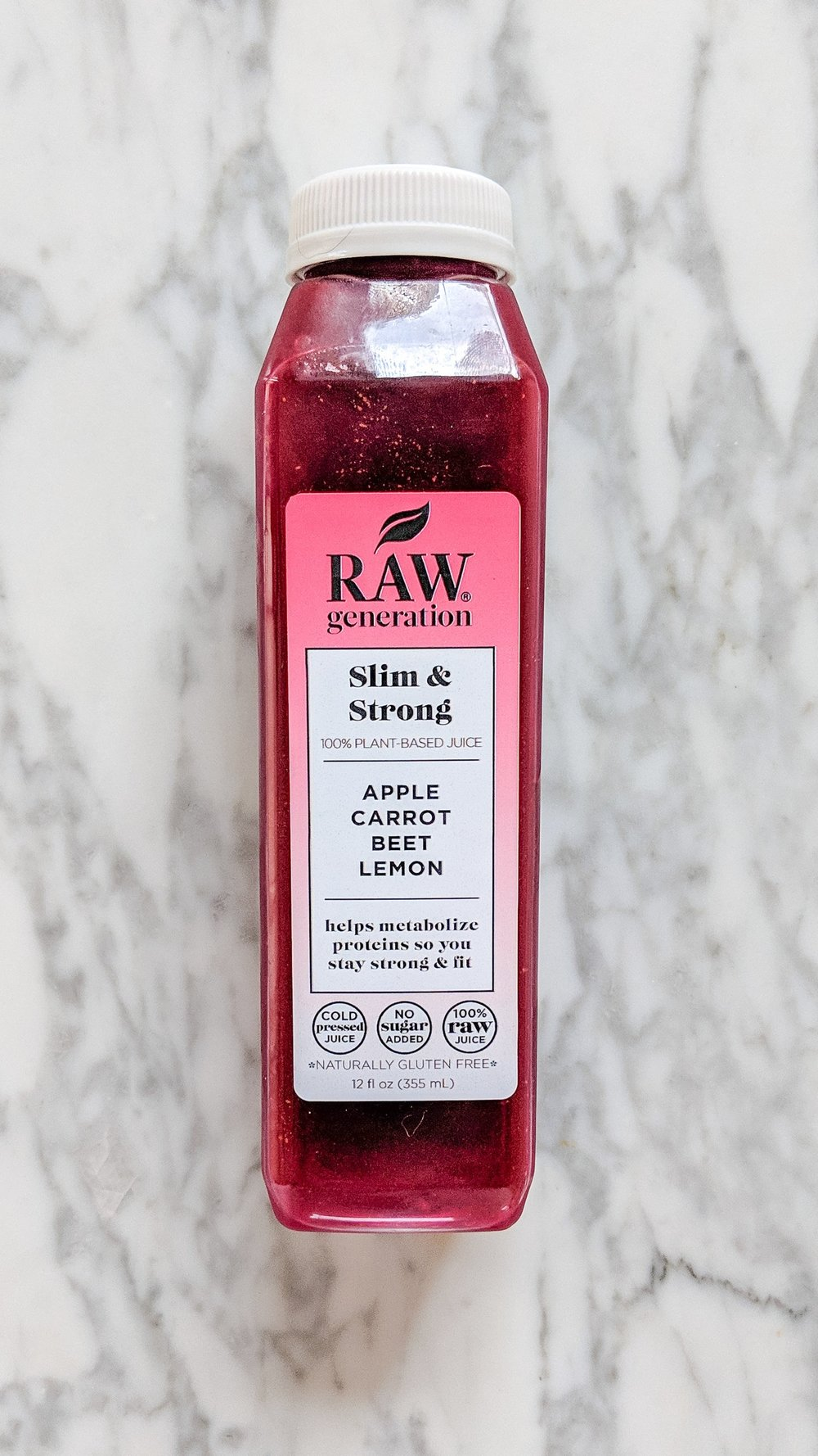 """""""Slim & Strong"""" - INGREDIENTS: carrot, green apple, beet, lemon, and filtered water.WHAT IT DOES: This one """"helps metabolize proteins so you stay strong and fit."""" I love beets and this juice was one of my favorites of the bunch. It was also the sweetest tasting so I loved saving it for the end of the day, kind of like a dessert!"""