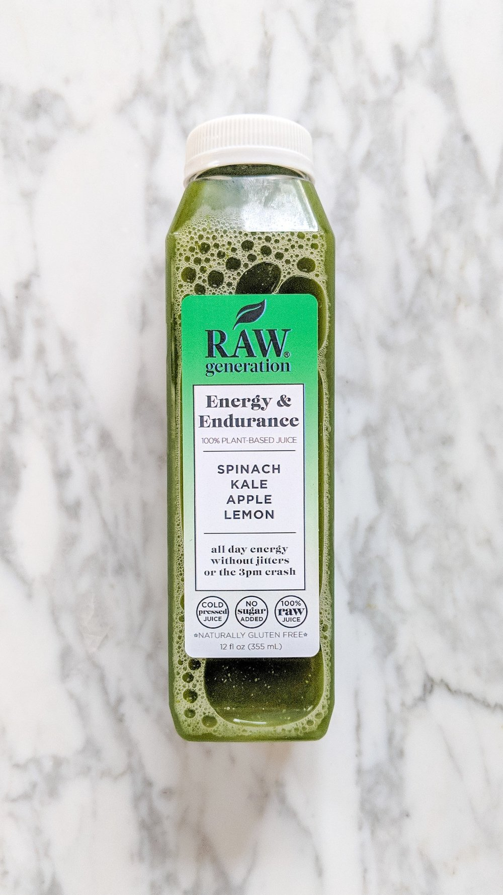 """""""Energy & Endurance"""" - INGREDIENTS: apple, spinach, kale, collard, lemon, and filtered water WHAT IS DOES: This juice is for """"all day energy without jitters or the 3pm crash."""" I started each day with this juice to give me energy and start my day strong. You get two of this flavor a day so I usually had the other one toward lunch time!"""