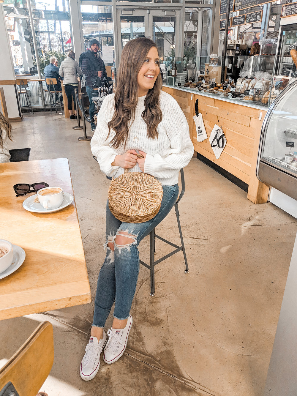 Ripped Jeans White Sweater Outfit Style by Julianne