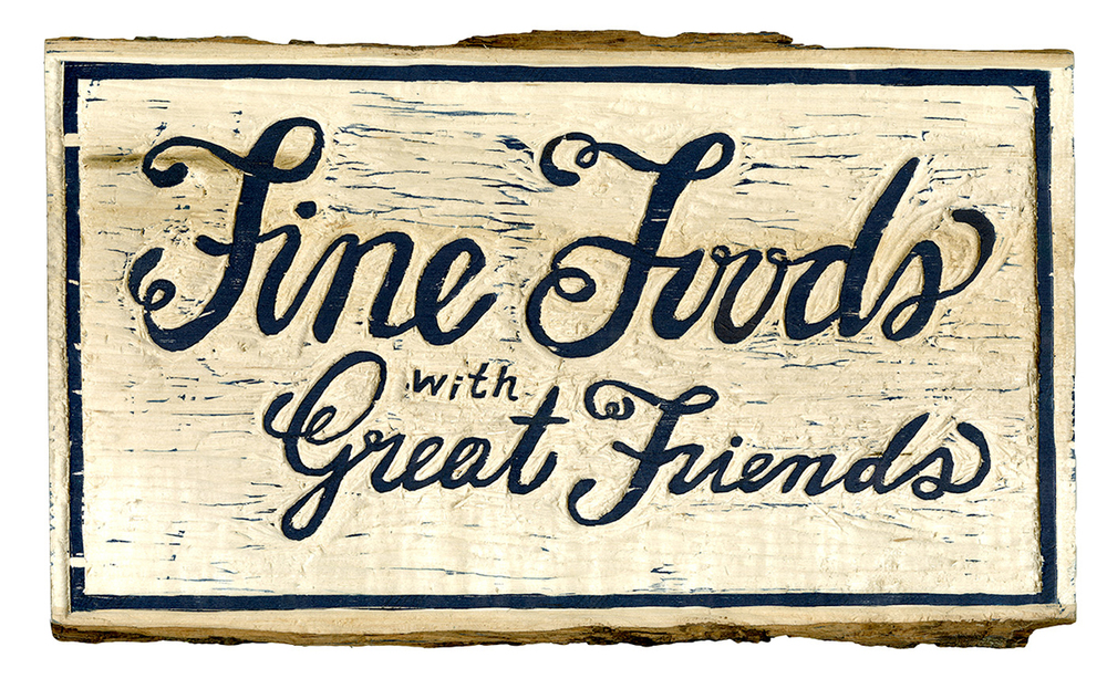Fine Foods with Great Friends | Best things on this planet | Lettering and wood craving by Eva Chau