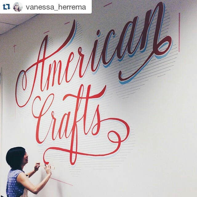 Mural is done and here is evidence of me actually working on it. 😛😛😛#design #mural #lettering #Regram @vanessa_herrema @yanchauchau working on this pretty type mural she did for the entrance at @americancrafts I work with some great artists!! 😍